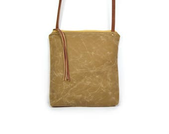 waxed canvas crossbody bag - weekdayer • brown waxed canvas crossbody bag • light brown waxed canvas - simple crossbody bag