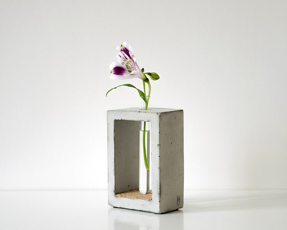 Beton Vase concrete vase small flower rectangle test modern interior