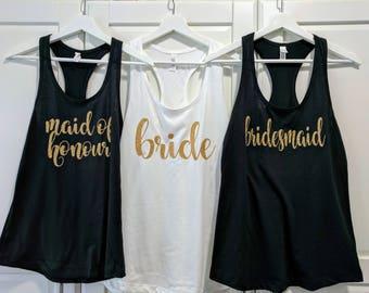 Bridesmaid Tank - bachelorette tank - Bride Tank Top - wedding party shirts - bride squad - bridal party shirt - brides squad - bride tribe