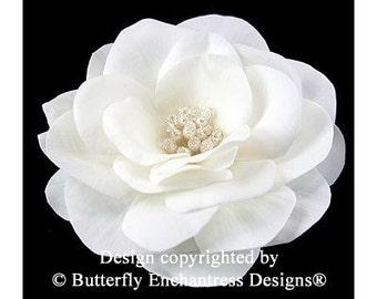 Ivory Gwyneth Gardenia Bridal Hair Flower Clip - Pearl Crystal Center - Butterfly Enchantress