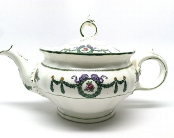 Minton Teapot, Tea Time, High Tea, England, 1920, Holly Swags, Roses, Baskets, Hand Painted, Mother's Day Gift, Tea Party