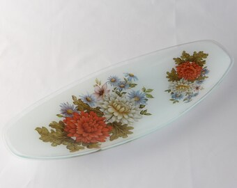 Chance bros glass oval sandwich plate - Bouquet design - original from the 1970's
