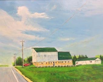 75 West Toward Kanasville Original Acrylic Painting, Framed