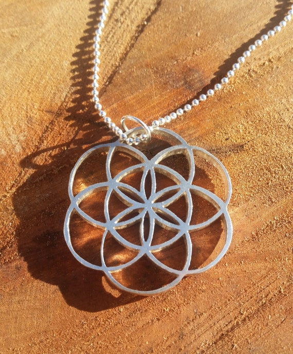 Seed of Life Cast Sterling Silver Pendant - Sacred Geometry - Healing