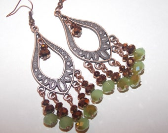 Green and Copper Czech Glass Copper Crystal Copper Chandelier Earrings