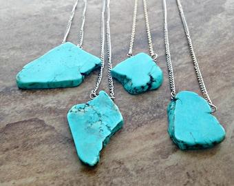 Large Turquoise Necklace, Boho Turquoise Necklace, Large Turquoise Pendant Necklace, Large Turquoise Stone, December Birthstone, Western