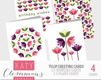 TULIP printable greetings cards x 4. Birthday card & blank card designs - instant download.