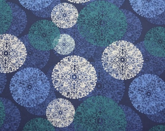 Cotton Fabric by the Yard, Free Spirit Fabrics, Ty Pennington, Quilting Fabric, Impressions, Cotton Fabric, Geometric, Blue Green White