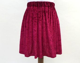 Burgundy velvet skirt, Christmas skirt, velvet clothing, winter, autumn, wine, 90s, 90's skirt, grunge, boho, grunge fashion, XS, S, M, L