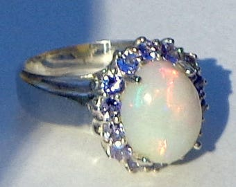 Size 6 3/4, Large White Welo Opal, Tanzanite Halo Ring, Natural Gemstones, Sterling Silver, Fine Jewelry, Ethiopian Opal, OOAK