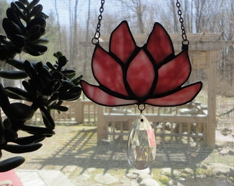 Lotus Flower, Pink Stained Glass, Sacred, Vintage Glass, Sun Catcher, Home Decor, Yoga, Window Hanging, Sculpture, Ornament, Vintage Crystal