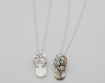 10x20mm Mother of Pearl or  Abalone Slipper Pendant