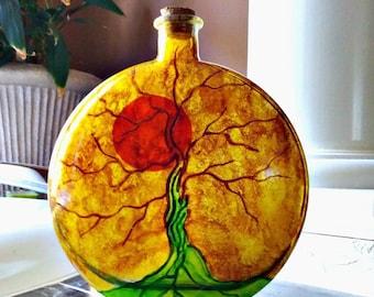 glass urn   human ashes urn   tree of life   decorative glass   memory bottle   keepsake bottle   pet urn   remembrance bottle   urn decor