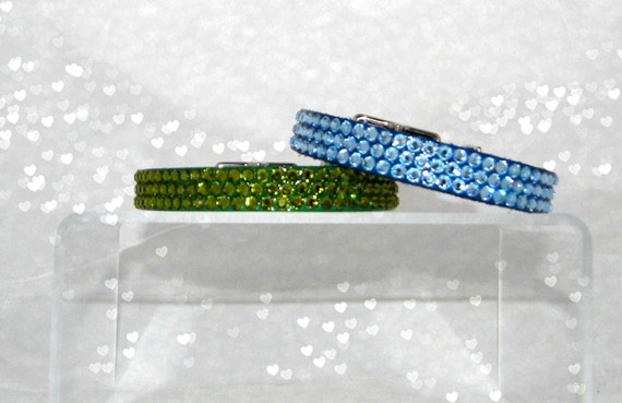 """Custom Pet Collar Crystal 8-10"""" Bling Leather +70 Swarovski choices Breakaway Safety Cat & Standard Buckle small Dog by Glass Slippers"""
