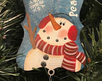 Christmas Ornament, Christmas Tree, Ornament, Snowman, Scarf, Rusty Bell, Teacher Gift, Gift Tag, Earmuffs, Laurie Speltz
