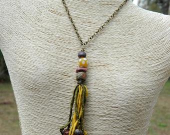 "50"" Silk Ribbon Boho Tassel Necklace"
