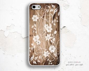 Floral Wood iPhone Case - iPhone 5 Case, iPhone 5c case, Flower iPhone 4 Case, iPhone 4s Case, Wood iPhone 5s Case Floral :0216