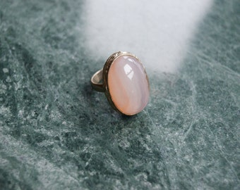 Rose Quartz Sterling Vintage Ring - Size 7