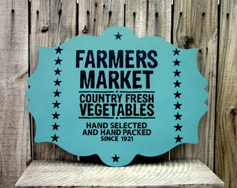 Kitchen Sign, Farmers Market Sign, Painted Wood, Plaque, Vegetable Market, Country Decor, Rustic, Kitchen Wall Decor, Farmhouse