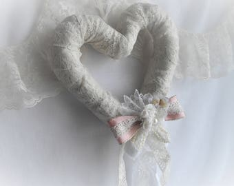 Heart Wreath Lace Romantic Country Style Shabby Chic Cottage Chic Keepsake Wedding Engagement Shabby Chic Cottage Chic Handmade HandcraftUSA