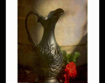 """Black Vase and Red Geranium. An Unframed 16"""" x 20"""" Gallery Print."""