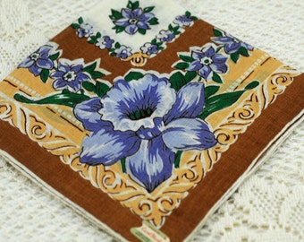 Brown White Blue Floral Vintage Hankie S6