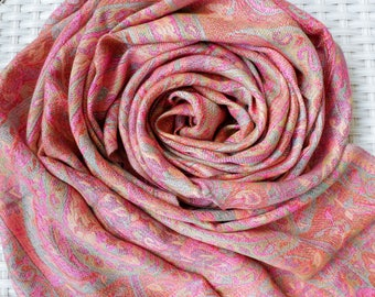 Vibrant Pink Cashmere Scarf / Wool Scarf / Handmade Pashmina Scarf / Oversized Scarf / Boho Beach Scarf /Pashmina Shawl / Gift for Her /