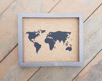 Traveler's Journey Pin Map - Charcoal Wood - SMALL