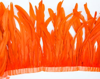 "Orange 10"" - 12"" FRINGE coque rooster tail  feathers"