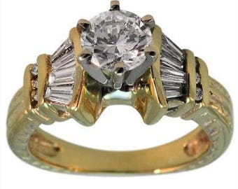 14K Baguette Diamond Engagement Ring 0.75 Carat Center 14K Yellow Gold Diamond Ring