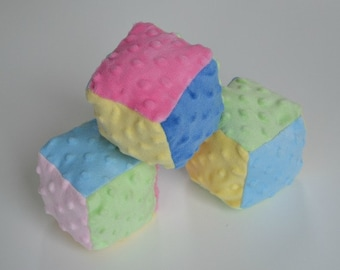 Set of 3 soft cubes, minky dot cubes, baby toy, soft stuffed cubes, Christmas gift, stocking stuffer, 3 fuzzy pastel cubes, baby shower gift