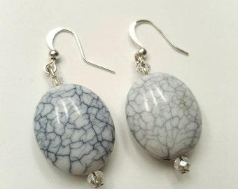 Marbled White Bead Earrings - Handmade Earrings