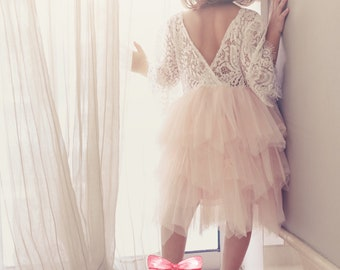 Blush Flower girl dress, vintage lace toddler dress, toddler lace dress, bohemian flower girl dress