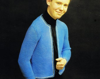 Boy's Vintage Knitting Pattern Cadette Cardigan Jacket Zipper Front Chest Sizes 34 to 38 Inches PDF Digital Pattern Reproduction Download