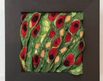 Felted floral wall piece, contemporary craft  #SQ32