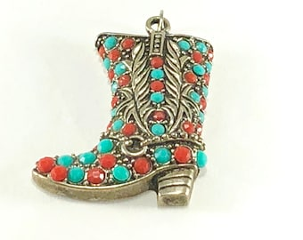 Cowboy Boot Necklace Pendant, Western Jewelry, Costume Coral & Turquoise Blue, Western Pendant, Boot Pendant, Cowboy Boot Pendant, Pendant