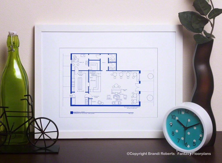 Central Perk Cafe Floor Plan Friends TV Show Blueprint