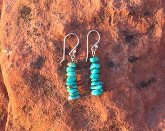 Turquoise Earrings | Light Turquoise Earrings | Sterling Silver | Genuine Turquoise | Kingman Turquoise | Handmade Earrings | Gifts for Her
