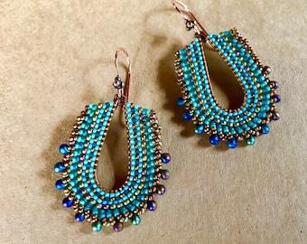 Teal Teardrop Earrings, Seed Bead Jewelry