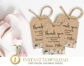 Girl Baptism Favor Tags, Baptism Favor Tags, First Communion Favor Tags, Christening Favor Tags, Thank You Tags, Personalized Tags, Gift Tag