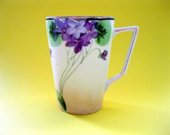 Nippon Hand Painted Cup/Mug with Handle, Violets with Gold Trim
