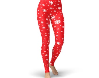Red Snowflake Holiday Highwaisted Buttersoft  Leggings