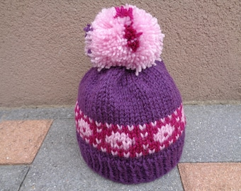 Hat with Pompom knitting girl 12 to 24 months