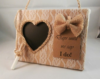 Bride to be gift from maid of honor, congratulations engagement gift, burlap and lace wedding count down
