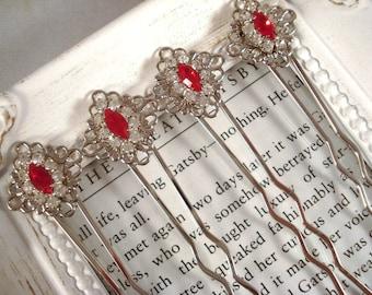 Red Rhinestone Hair Pins 1920's Inspired Valentine's Day Gift Repurposed Vintage Jewelry