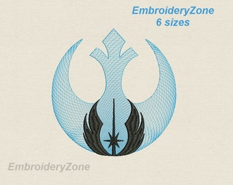 Simbols of the Rebel alliance and Jedi order from Star Wars machine Embroidery design. 8 sizes. Hoop 4x4 5x7 6x10 7x11 10x14.