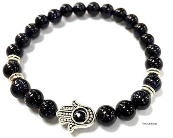 Unisex Hamsa Bracelet, Goldstone Bracelet, Beaded Bracelet, Yoga Mala Bracelet, Silver Hamsa Bracelet, Men Jewelry, Womens Bracelet