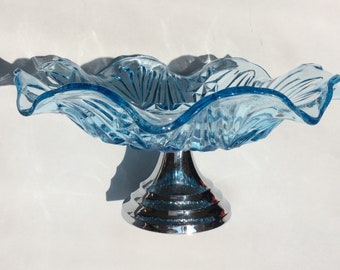 Art Deco Cake Stand, Cake Plate. Blue Pressed Glass Cakestand, Chrome Stand. Wedding Table. Vintage Blue Glass Cake Stand. 1930s. Bagley?