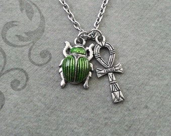 Scarab Necklace SMALL Scarab Jewelry Egyptian Necklace Egyptian Jewelry Beetle Necklace Silver Ankh Necklace Ankh Charm Green Scarab Beetle