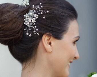 Hair pin for bride Hair accessories Winter wedding hair piece Bridal headpiece pearls Dainty hair pin Silver Babys breath hair jewelry set